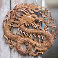 Wood relief panel, 'Twilight Dragon' - Hand Carved Artisan Crafted Balinese Dragon Wall Sculpture