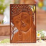 Buddha Portrait Balinese Relief Panel, 'Young Buddha'