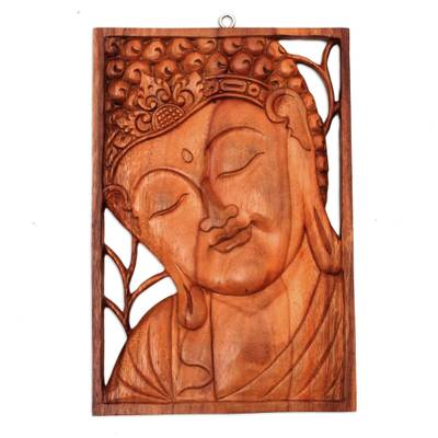 Wood relief panel, 'Young Buddha' - Buddha Portrait Balinese Relief Panel
