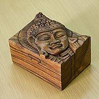 Wood puzzle box, 'Glorious Buddha'