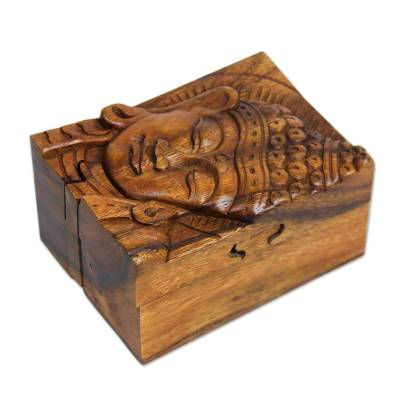 Wood puzzle box, 'Glorious Buddha' - Hand-carved Wood Puzzle Box Buddhist Art