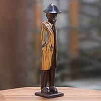 Wood sculpture, 'Colonial Foreman' - Colonial Style Indonesian Wood Sculpture