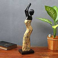Wood sculpture, 'Prayer' - Woman in Prayer Sculpture Bali