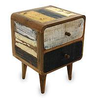 Reclaimed teakwood side table, 'Early Rusticity' - Vintage Look Side Table in Reclaimed Teakwood