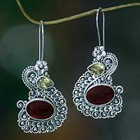 Carnelian and citrine dangle earrings, 'Balinese Swan' - Silver Swan Earrings with Carnelian and Citrine