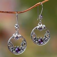 Cultured pearl and amethyst earrings 'Frangipani Moons' - Pearl and Amethyst Earrings from Balinese Artisan