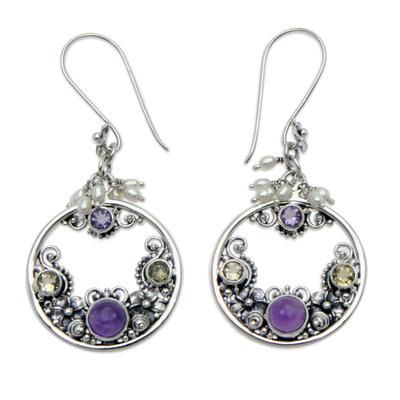 Cultured pearl and amethyst earrings 'Frangipani Moons' - Pearl and Amethyst Earrings from Balinese Artisan