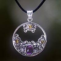 Citrine and amethyst floral necklace, 'Frangipani Moon' - Citrine Amethyst and Sterling Silver Necklace Bali Jewelry