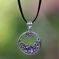 Amethyst floral necklace, 'Frangipani Moon' - Amethyst and Sterling Silver Necklace Bali Jewelry