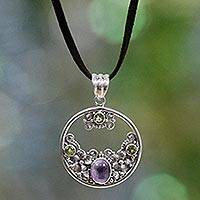 Peridot and amethyst floral necklace, 'Frangipani Moon' - Unique Peridot Amethyst and Silver Necklace from Indonesia