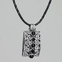 Onyx pendant necklace, 'Forest Shadows' - Balinese Artisan Crafted Onyx and Silver Necklace