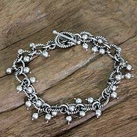Sterling silver charm bracelet, 'Bright Berries' - Handmade Balinese Silver Charm Bracelet