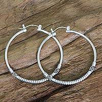 Sterling silver hoop earrings, 'Life's Journey' - Artisan Crafted Sterling Silver Balinese Hoop Earrings