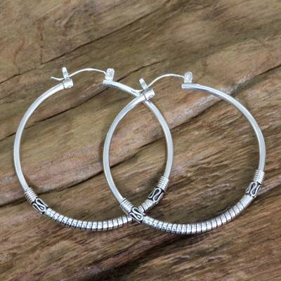Sterling silver hoop earrings, 'Life's Journey' - Artisan Crafted Sterling Silver Balinese Hoop Earrings