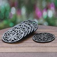Wood coasters, 'Black Jasmine' (set of 6) - 6 Handmade Wood Jasmine Motif Coasters (set of 6)