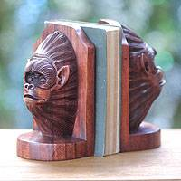 Wood bookends, 'Orangutan Couple' (pair) - Handcrafted Signed Balinese Wooden Orangutan Bookend Set