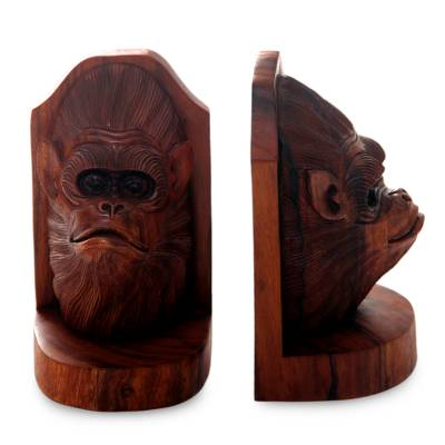 Wood bookends, 'Orangutan Couple' (pair) - Balinese Artisan Crafted Signed Orangutan Bookends (Pair)