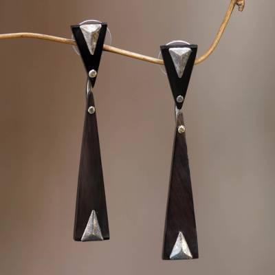 Horn dangle earrings, 'Black Mountain' - Handcrafted Silver Accent Earrings with Water Buffalo Horn