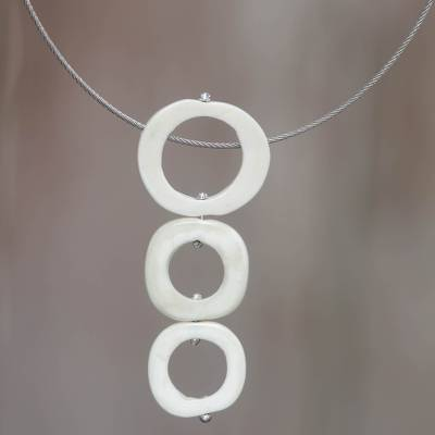 Stainless steel and bone pendant necklace, 'Sea Clouds' - Handcrafted Necklace with Water Buffalo Horn