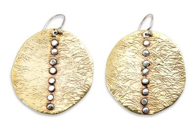 Brass and sterling silver dangle earrings, 'Ocean Sunset' - Handmade Silver Accent Brass Dangle Earrings