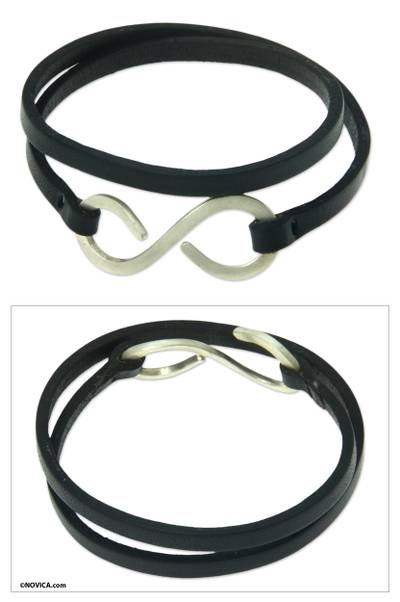 Leather wrap bracelet, 'Silver Infinity' - Artisan Crafted Leather Wrap Bracelet with Silver Brass Hook
