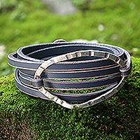 Leather wrap bracelet, 'Palau Dewata in Charcoal' - Gray Leather Wrap Bracelet with Silver Plated Pendant