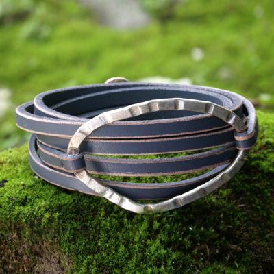 Leather wrap bracelet, 'Palau Dewata in Charcoal' - Gray Leather Wrap Bracelet with Silver Plated Pendant