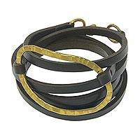 Leather wrap bracelet, 'Palau Dewata in Brown' - Leather Wrap Bracelet with Antiqued Brass Plate