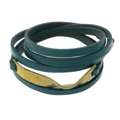 Leather wrap bracelet, 'Teal Myth' - Teal Leather and Brass Wrap Bracelet