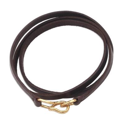 Leather wrap bracelet, 'Quartet in Brown' - Quality Leather Wrap Bracelet with Antiqued Brass Clasp