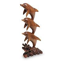 Wood sculpture, 'Dolphin Dance' - Three Dolphins Sculpture Hand Carved Wood