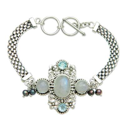 Cultured pearl and rainbow moonstone flower bracelet, 'Regal Gianyar' - Rainbow Moonstone and Blue Topaz Bracelet