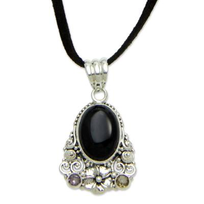 Onyx and amethyst flower necklace, 'Empress Garden' - Onyx Amethyst Citrine and Sterling Silver Necklace Jewelry