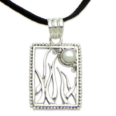 Cultured pearl pendant necklace, 'Nature's Moon' - Artisan Crafted Pearl and Sterling Silver Necklace Jewelry