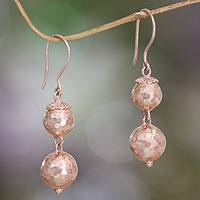Rose gold plated dangle earrings, 'Pink Eclipse' - Rose Gold Plated Earrings from Bali