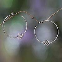 Sterling silver hoop earrings, 'Dpal Be'u' - Sterling Silver Earrings with Buddhist Knot from Bali