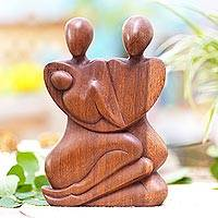 Wood statuette, 'Family Peace' - Hand Carved Indonesian Family Sculpture