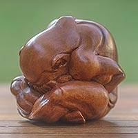 Wood statuette, 'Meditating Yogi' - hand Carved Yoga Sculpture