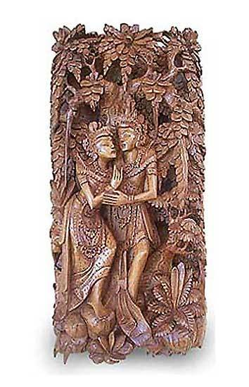 Wood relief panel, 'Rama and Sita in Exile' - Wood relief panel