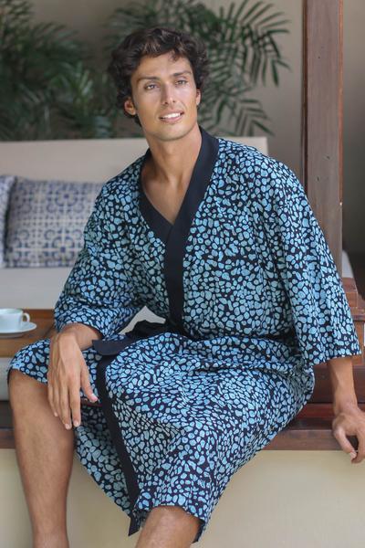 Men's cotton batik robe, 'Midnight Blues' - Men's Cotton Robe in Hand Stamped Batik