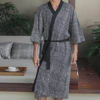 Men's cotton batik robe, 'Asteroids'