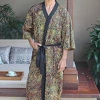 Men's cotton batik robe, 'Java Gold'