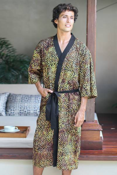 Men's cotton batik robe, 'Java Gold' - Men's Cotton Robe in Hand Stamped Batik