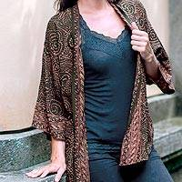 Batik kimono jacket, 'Javanese Chocolate' - Brown and Black Batik Rayon short kimono jacket