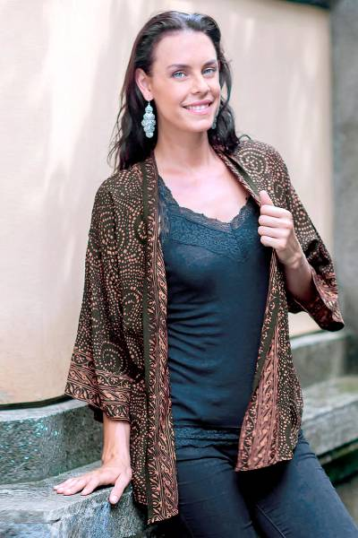 Batik kimono jacket, 'Javanese Chocolate' - Brown and Black Javanese Batik Rayon Jacket