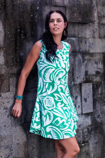 Cotton sundress, 'Balinese Paradise' - Sleeveless Cotton Sundress