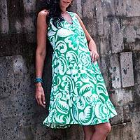 Cotton dress, 'Balinese Green' - Cotton Batik Sundress with Diagonal Ruffles from Indonesia