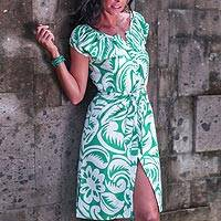 Cotton dress, 'Balinese Paradise' - Cotton Floral Short Sleeve Dress in Green and White