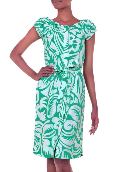 Cotton Dress Green and White