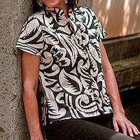 Cotton top, 'Bali Shadows' - Cotton Top Short Sleeves Screen Print with a Mandarin Collar